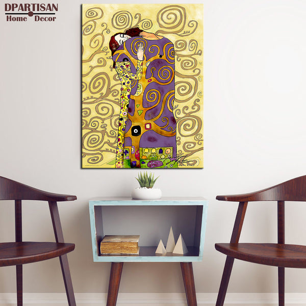 DPARTISAN Huge Gustav KLIMT giclee print CANVAS WALL ART decor poster The Kiss oil painting print on canvas living room pictures
