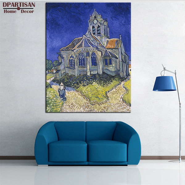 DPARTISAN Vincent Van Gogh The Church in Giclee wall Art Canvas Prints No frame wall painting for home living rooms pictures