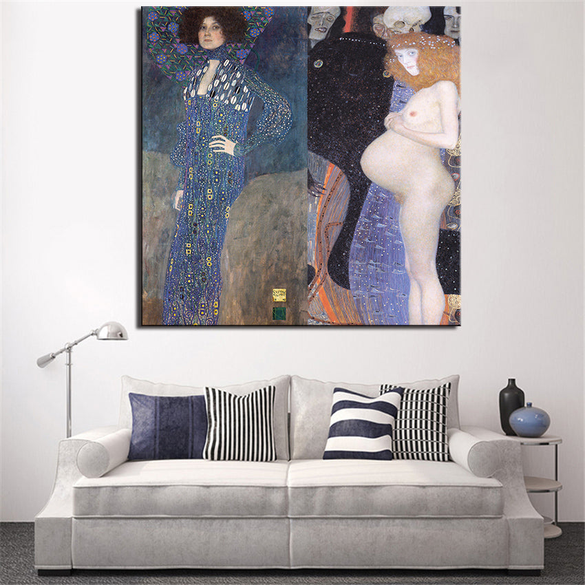 Large sizes Klimt Portrat Emilie FlOge1902 and Hoffnung print  wall art decoration oil painting wall painting picture No framed