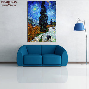 DPARTISAN Road with Cypresses  Giclee  poster By vincent Van Gogh print  Wall oil Painting picture print on canvas home living