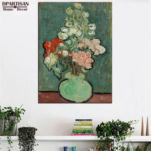 DPARTISAN FLOWERS IN A BLUE VASE BY VAN GOGH vincent Van Gogh print  Wall Painting picture Home Decorative Art Picture  Prints