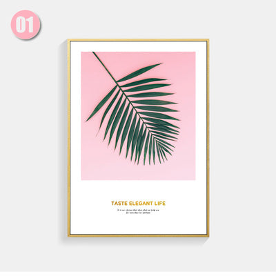 Gold Letter Pink Posters And Prints Leaf Pot Plant Nordic Poster Wall Art Canvas Painting Wall Pictures For Living Room Unframed