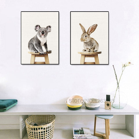 Sloth Raccoon Yellow Duck Rabbit Animal Nordic Poster Posters And Prints Art Print Canvas Pictures For Living Room Unframed