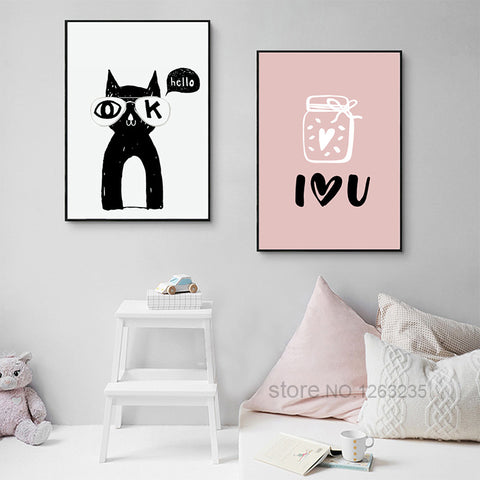 Cartoon Pink Baby Nordic Poster Posters And Prints Wall Art Canvas Painting Art Print Canvas Pictures For Living Room Unframed