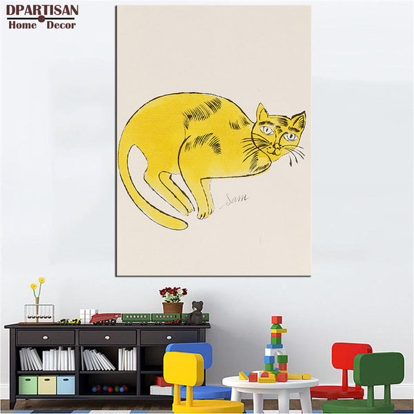 DPARTISAN study pop cat wall pictures oil painting print canvas top idea decor wall art for wall painting no frame