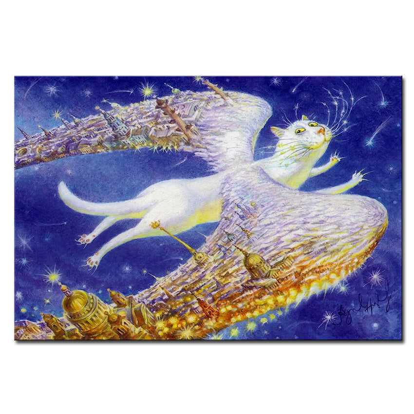 Vladimir Rumyantsev angel flying cat world oil painting wall Art Picture Paint on Canvas Prints wall painting no framed