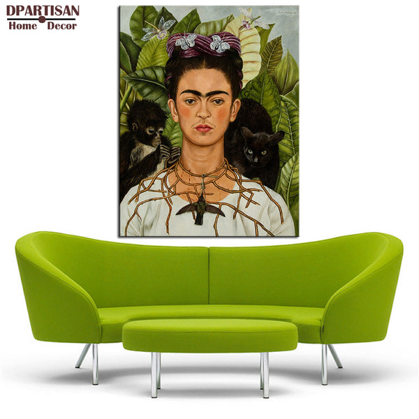 DPARTISAN New self portrait with necklace of thorns 1940 By Naive Art print Wall oil Painting picture print on canvas No frame