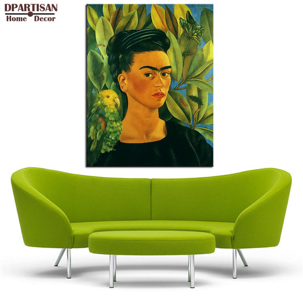 DPARTISAN self portrait with bonito 1941 poster By Naive Art print Wall oil Painting picture print on canvas wall pictures art
