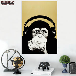 DPARTISAN study music monkey wall pictures oil painting print canvas top idea decor wall art for wall painting no frame