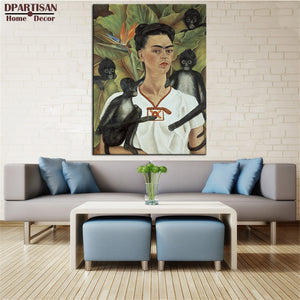 DPARTISAN SELF PORTRAIT WITH MONKEY, C.1940 poster By Naive Art print Wall oil Painting picture print on canvas no frame arts