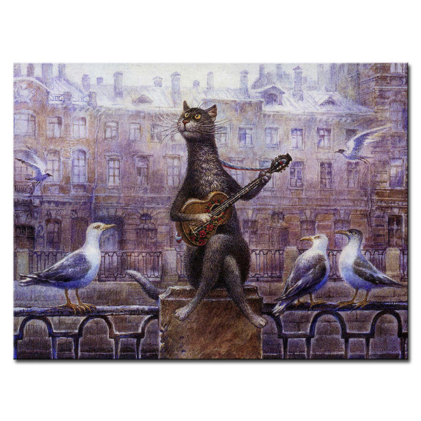 Vladimir Rumyantsev animal play with cat world oil painting wall Art Picture Paint on Canvas Prints wall painting no framed