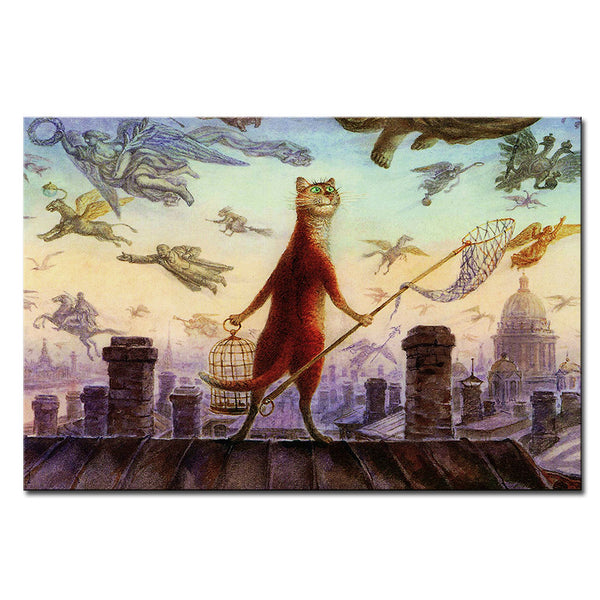 Vladimir Rumyantsev fly on the sky cat world oil painting wall Art Picture Paint on Canvas Prints wall painting no framed
