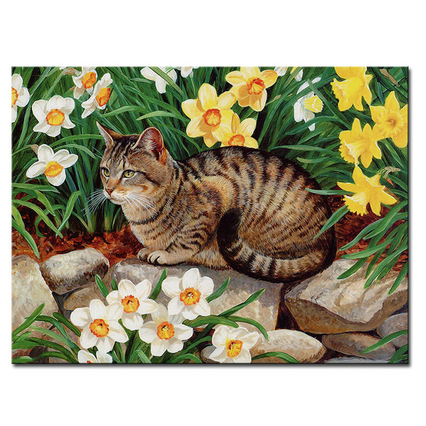 Vladimir Rumyantsev yellow flower with cat world oil painting wall Art Picture Paint on Canvas Prints wall painting no framed