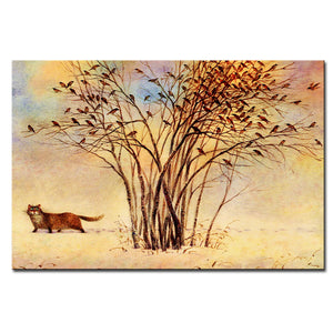Vladimir Rumyantsev under the tree cat world oil painting wall Art Picture Paint on Canvas Prints wall painting no framed