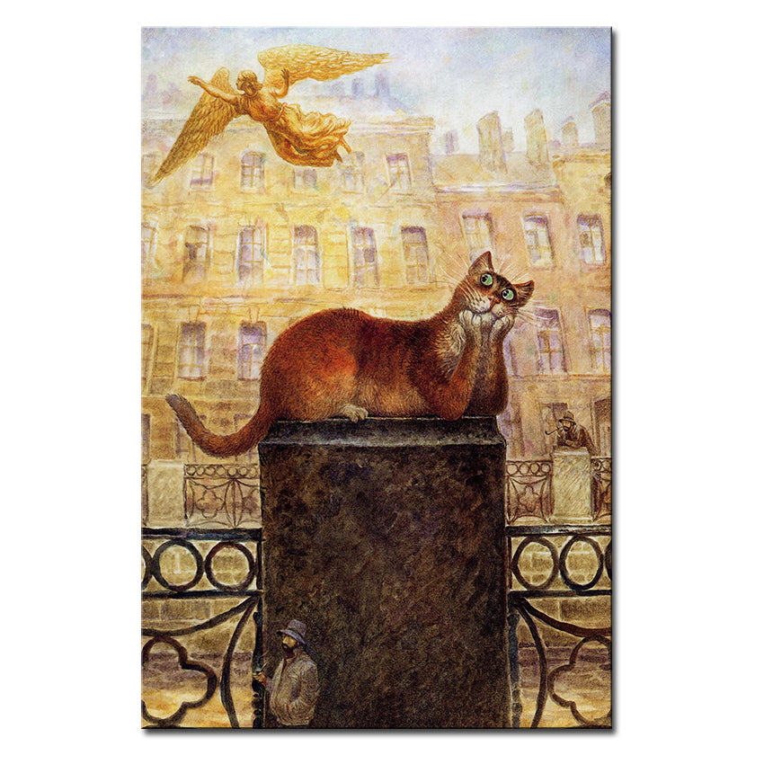 Vladimir Rumyantsev lay down cat world oil painting wall Art Picture Paint on Canvas Prints wall painting no framed