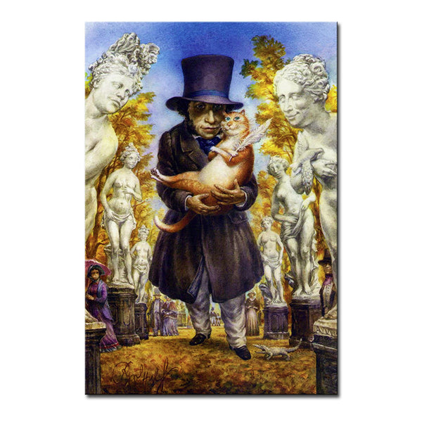 Vladimir Rumyantsev hat with cat world oil painting wall Art Picture Paint on Canvas Prints wall painting no framed