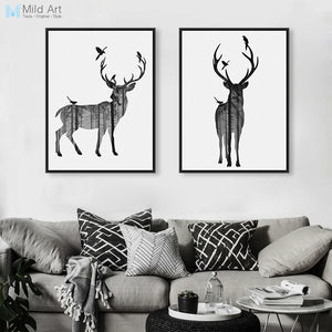 Modern Nordic Black White Animal Silhouette Deer Art Print Poster Wall Picture Canvas Paintings Living Room Home Decor No Frame