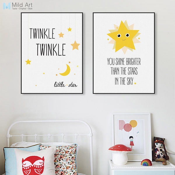 Kawaii Minimalist Twinkle Stars Typography Quotes Art Print Poster Nursery Wall Kids Room Decor Picture Canvas Painting No Frame