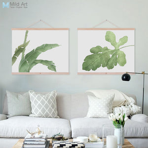 Watercolor Modern Cottage Cool Green Leaves Flower Plant Framed Canvas Paintings Nordic Home Decor Wall Art Print Picture Poster