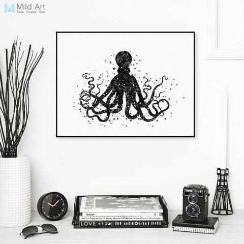 Modern Black White Marine Animal Camvas A4 Art Print Poster Abstract Octopus Wall Pictures Bedroom Home Decor Paintings No Frame