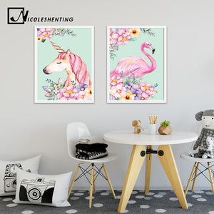 Flower Unicorn Flamingo Poster and Print Watercolor Animal Painting Wall Art Decorative Picture Nordic Style Kids Decoration