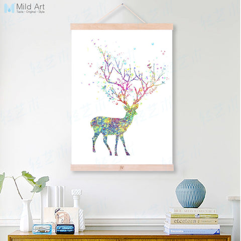 Modern Watercolor Abstract Dear Tree Bird Wooden Framed Canvas Paintings Girl Room Decor Wall Art Print Pictures Poster Scroll