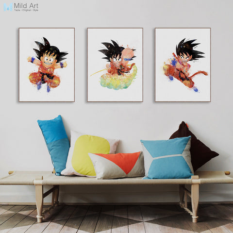 Triptych Modern Watercolor Canvas A4 Art Print Poster Japanese Anime Dragon Ball Wall Pictures Home Decor Paintings No Frame