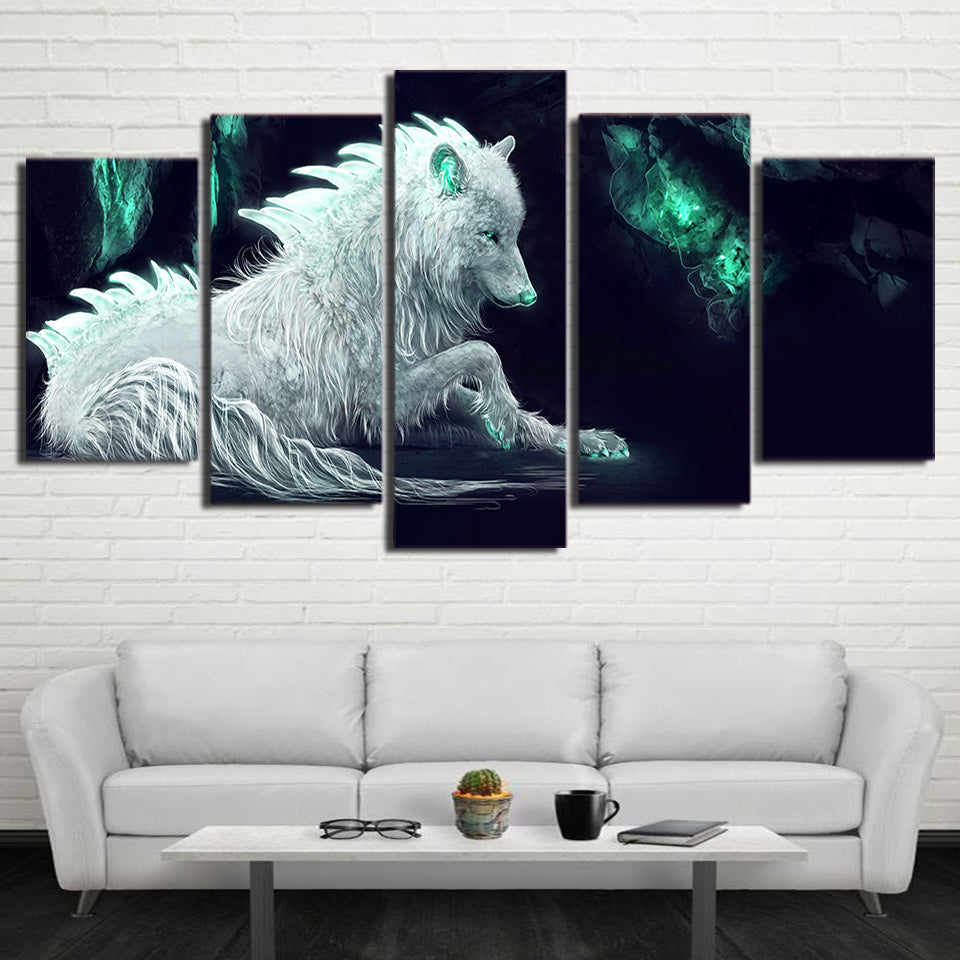 HD Printed 5 Piece Abstract White Wolf Canvas Painting Green Glowing  Wall Picture Posters and Prints Free Shipping  NY-7276B