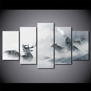 HD Printed 5 Piece Canvas Art White Howling Wolf Group Deer Painting Wall Pictures for Living Room Decor Free Shipping NY-7196B