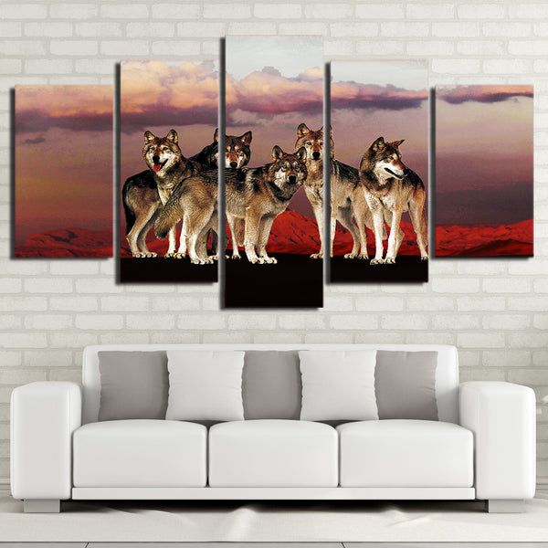 5 Piece HD Printed Canvas Painting Wolf Group in the Red Mountain Posters and Prints Modular Wall Picture Free shipping NY-7199B