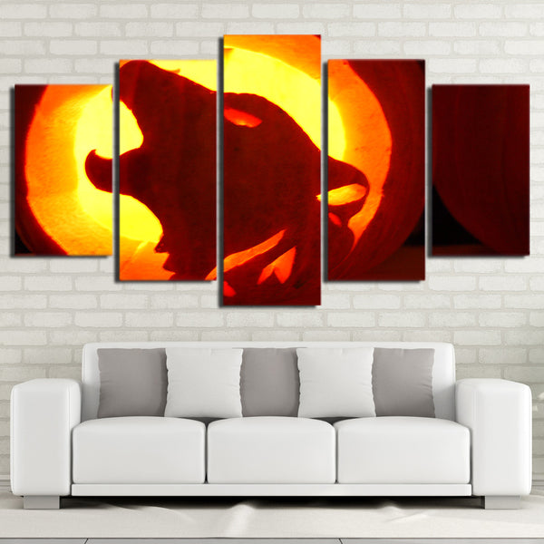 5 Pieces Canvas Art Painting Printed Wolfs in the Sunset Framed Modular Wall Art Pictures for Living Room Home Decor NY-7195B