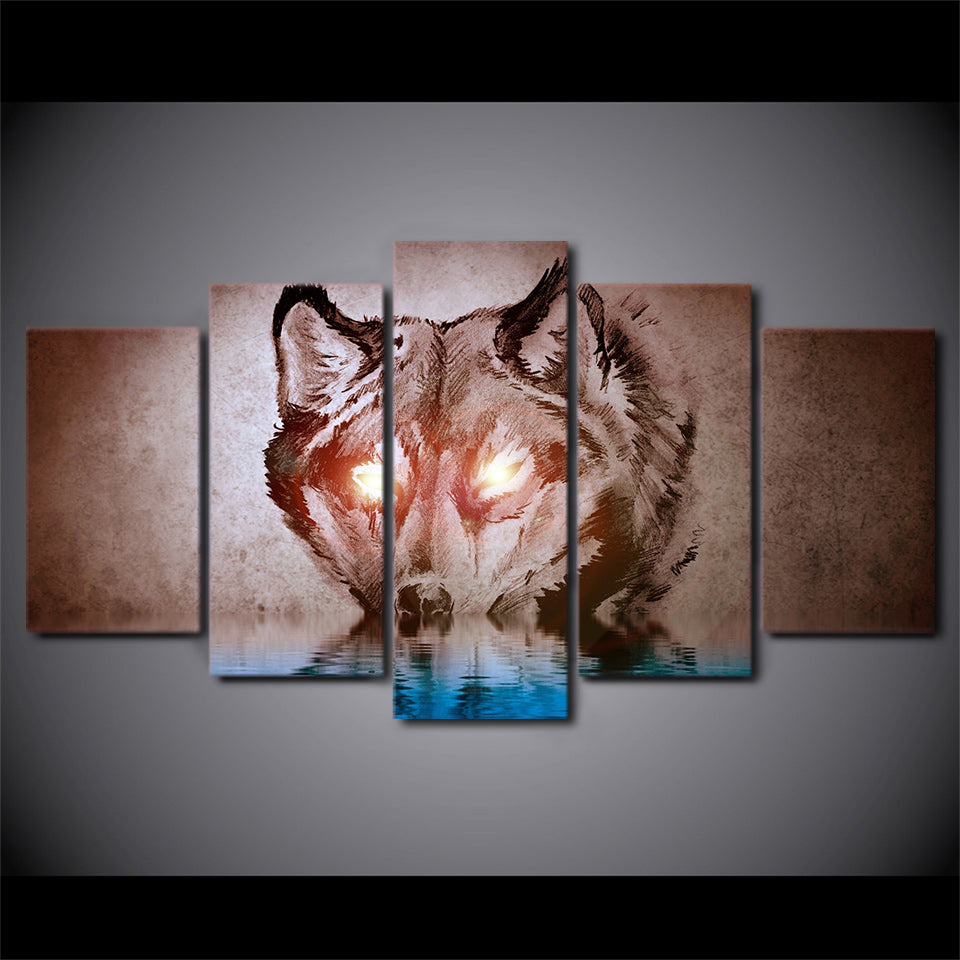 5 Piece HD Printed Abstract Eyes Glow Wolf Painting Canvas Prints Room Decor Posters and Prints Free shipping NY-7193B