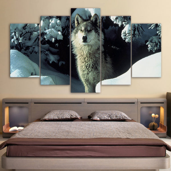 HD printed 5 Piece Canvas Art Snow Wolf in HolePainting Wall Pictures for living room Modern Modular Free Shipping NY-7191B