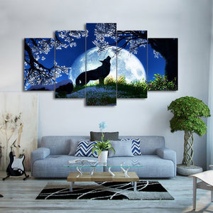 HD Printed 5 Pieces Canvas Paintings Howling Wolf Blue Moon Cherry Blossoms Night Wall Pictures For Living Room Decor CU-1897A