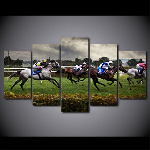 HD Printed 5 Piece Canvas Art Fast Horse Racing Painting Modular Framed Wall Pictures Room Decor Free Shipping NY-7050B