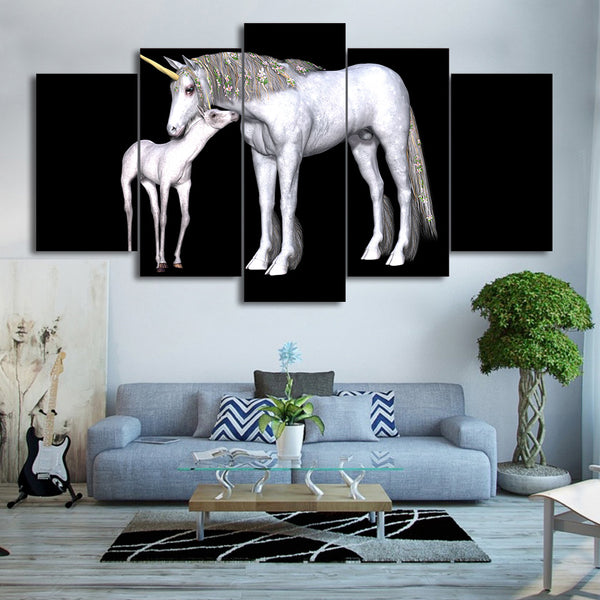 HD Printed 5 Piece Canvas Art Abstract White Horse Painting Framed Wall Pictures for Living Room Free Shipping CU-2307A