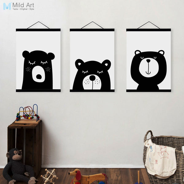 Kawaii Animal Bear Rabbit A4 Wooden Framed Poster Nordic Baby Kids Room Wall Art Canvas Painting Home Decor Print Picture Scroll