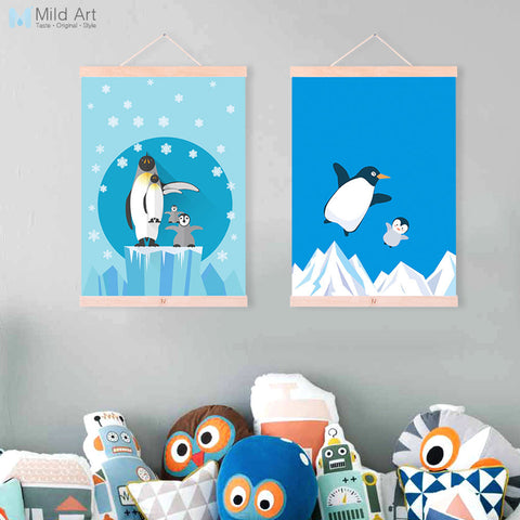 Nordic Kawaii Animal Penguin Family A4 Wooden Framed Poster Canvas Painting Modern Living Room Home Deco Wall Art Picture Scroll