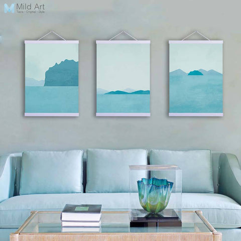 Abstract Marine Moutains Wooden Framed Canvas Paintings Modern Nordic Triptych Home Decor Wall Art Print Pictures Poster Scroll