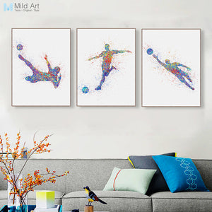 Triptych Modern Watercolor Abstract Soccer A4 Art Print Poster Sport Man Wall Picture Canvas Paintings Living Room Home Decor