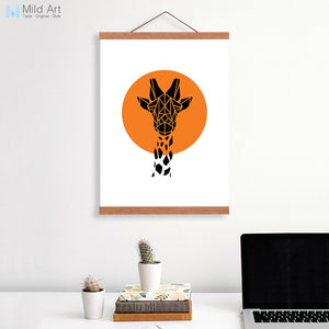 Nordic Abstract Geometric Giraffe Head Wooden Framed Canvas Painting Modern Retro Home Deco Wall Art Print Picture Poster Scroll