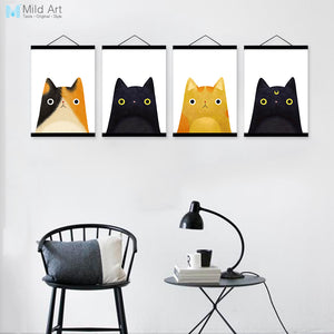Modern Original Watercolor Cute Japanese Cat Head Pet Wooden Framed
