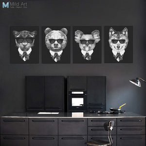 Modern Fashion Classic Black White Italy Mafia Animal Head Lion Canvas A4 Print Poster Wall Picture Home Decor Painting No Frame