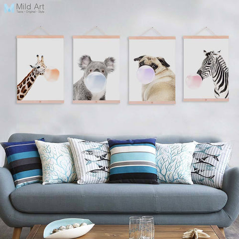 Nordic Kawaii Animal Bubble Panda Giraffe Wooden Framed Canvas Paintin Nursery Kids Room Home Deco Wall Art Print Picture Poster