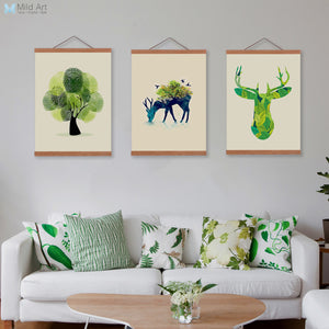 Abstract Deer Head Tree Birds Wooden Framed Canvas Paintings Triptych Nordic Home Decor Wall Art Print Pictures Poster Scroll
