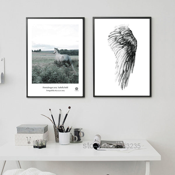 Angel Wings Posters And Prints Horse Wall Art Canvas Painting Wall Pictures For Living Room Nordic Decoration Poster Unframed