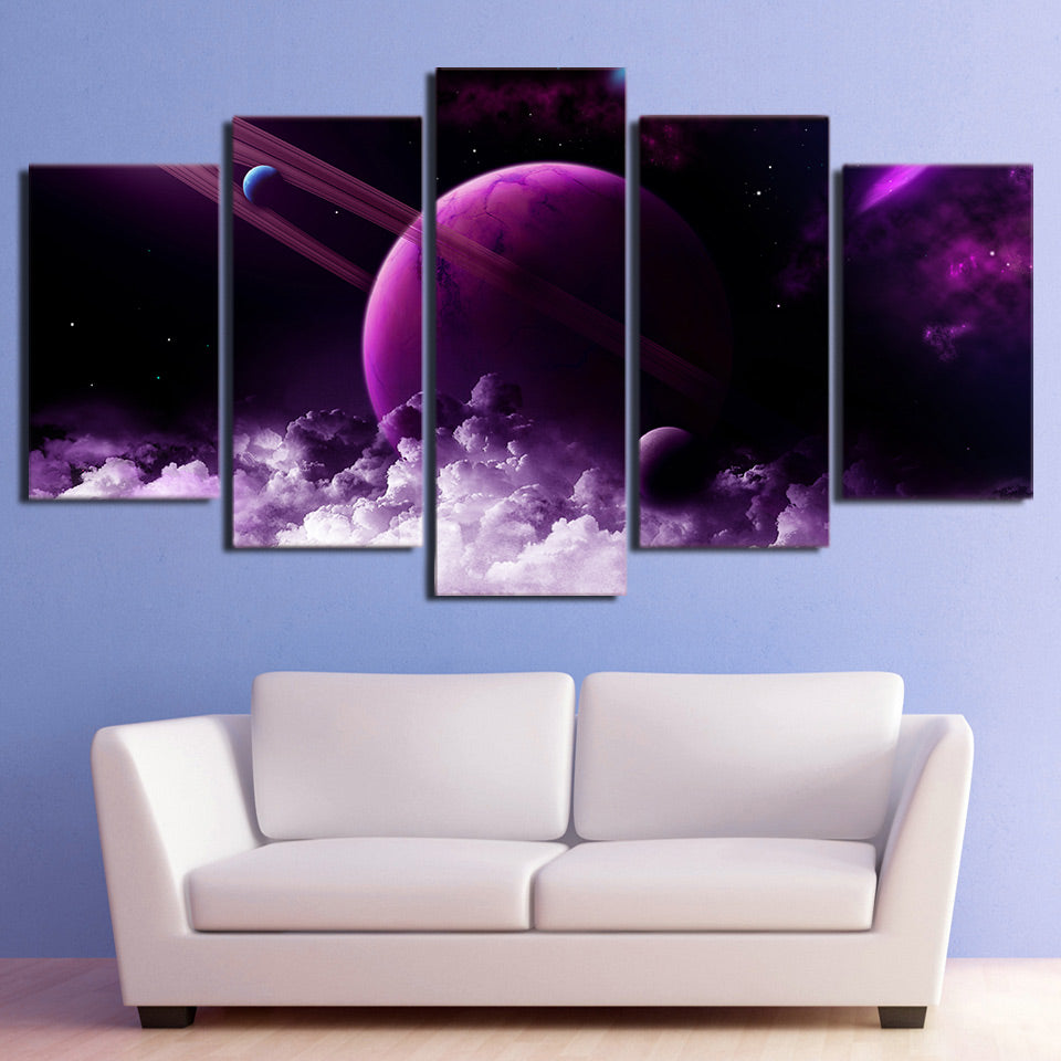 Hd Printed 5 Piece Canvas Painting Universe Galaxy Purple Posters Modular Wall Pictures For Living Room Home Decor Ny 7270c