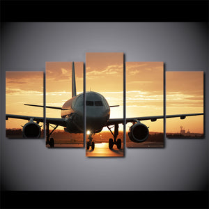 HD Printed 5 Piece Canvas Art Golden Sunset Painting Wall AirPlane Posters For Home Living Room Decor Free Shipping CU-2785C