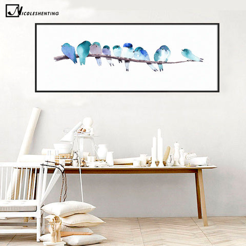 Watercolor Animal Birds Poster Minimalist Art Canvas Painting Wall Picture Long Banner Print Modern Home Room Decoration 388