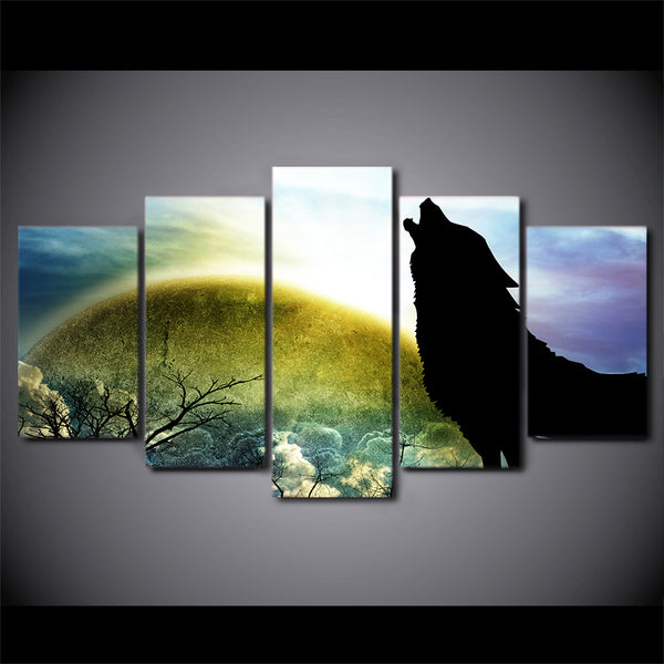HD Printed 5 Piece Canvas Art Wolf Painting Modular Nebula Stars Wall Pictures for Living Room Modern Free Shipping CU-2496B